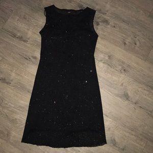 Black Dressy Shimmer Tank Dress w/ Full black slip